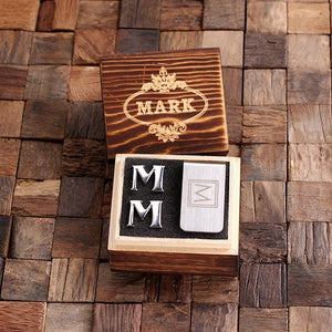 Personalized Initial Cufflinks & Money Clip Gift Set M