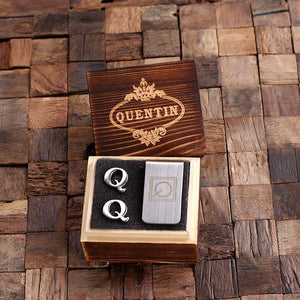 Personalized Initial Cufflinks & Money Clip Gift Set Q