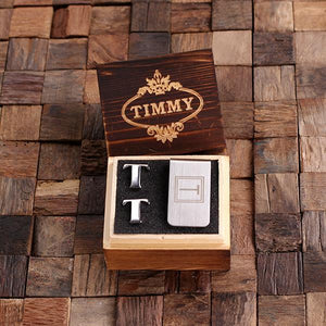 Personalized Initial Cufflinks & Money Clip Gift Set T