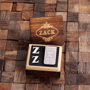 Personalized Initial Cufflinks & Money Clip Gift Set Z