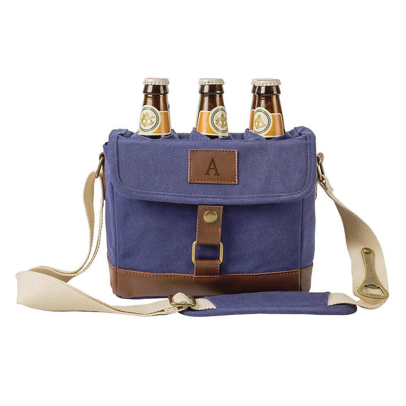 Personalized Insulated Canvas Bottle Carrier NAVY