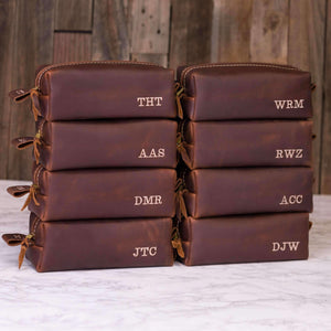 Personalized Leather Dopp Kit & Toiletry Bag