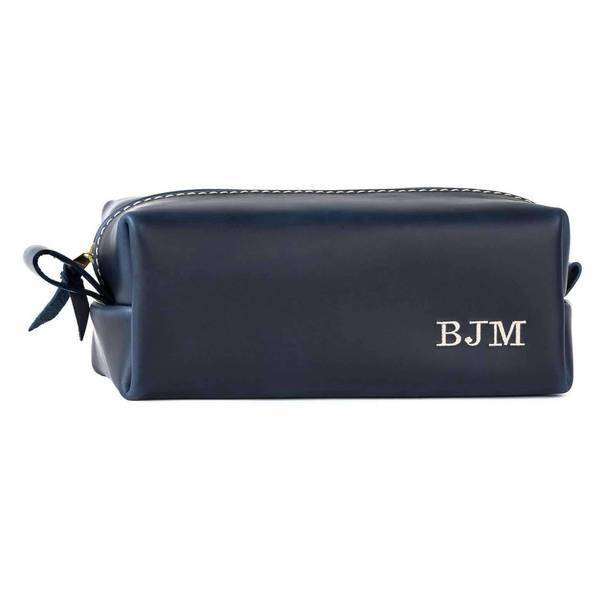 Personalized Leather Dopp Kit & Toiletry Bag X-LARGE / INK BLUE
