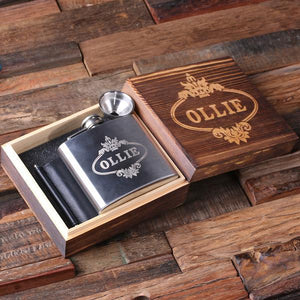 Personalized Leather Wallet and Flask in a Wooden Gift Box