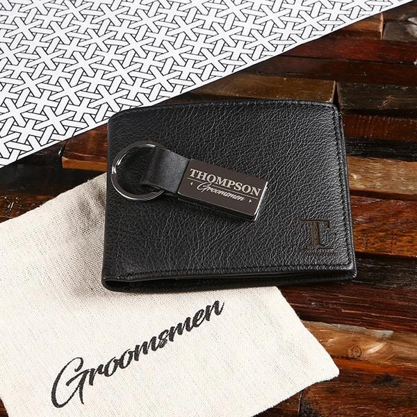 Personalized Leather Wallet & Keychain Groomsmen Gift Set