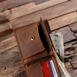 Personalized Mens Leather Bifold Wallet with Box