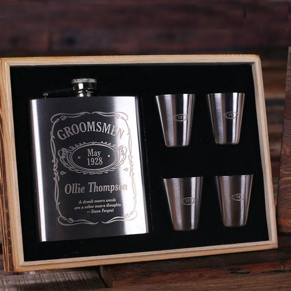 Personalized Metal Whiskey Flask & Shots Gift Set