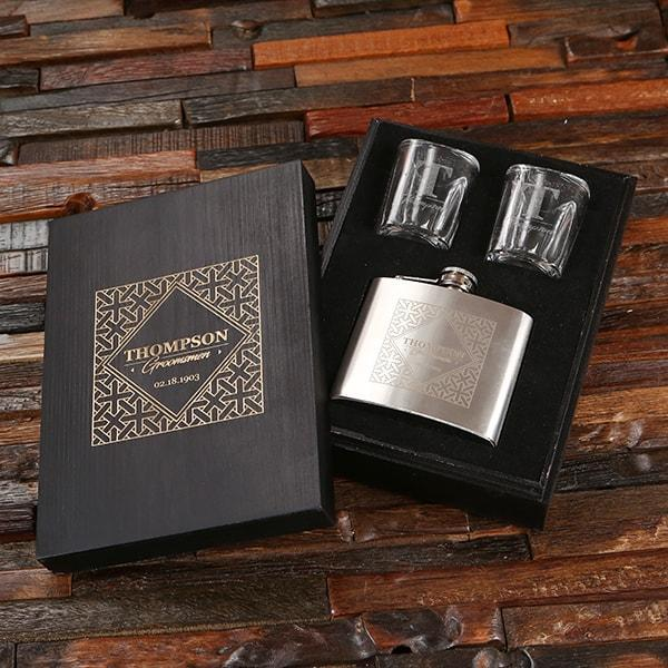 Personalized Shot Glass & Flask Groomsmen Gift Set