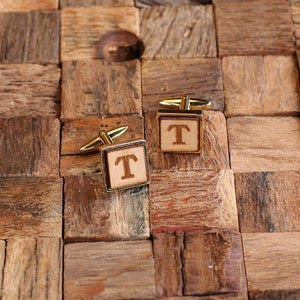 Personalized Square Wooden Cufflinks Gold / Without Box