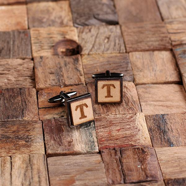 Personalized Square Wooden Cufflinks Gun Metal