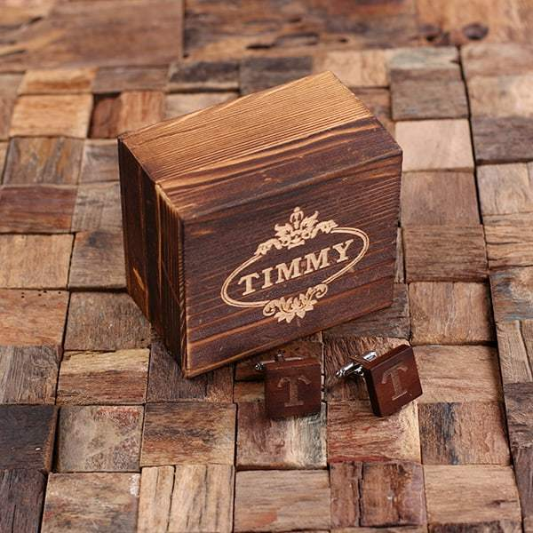 Personalized Wooden Mahogany Cufflinks with Box