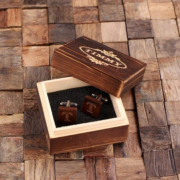 Personalized Square Wooden Mahogany Cufflinks with Box With Box