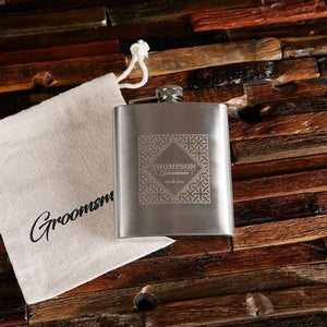 Personalized Stainless Steel Flask & Holding Pouch 7 OZ