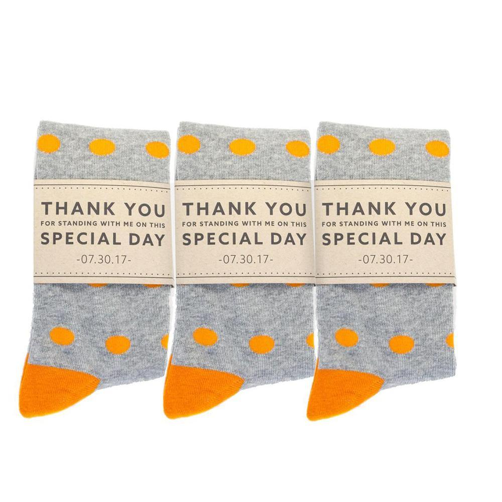 Personalized Thank You Socks Grey and Orange Polka Dots