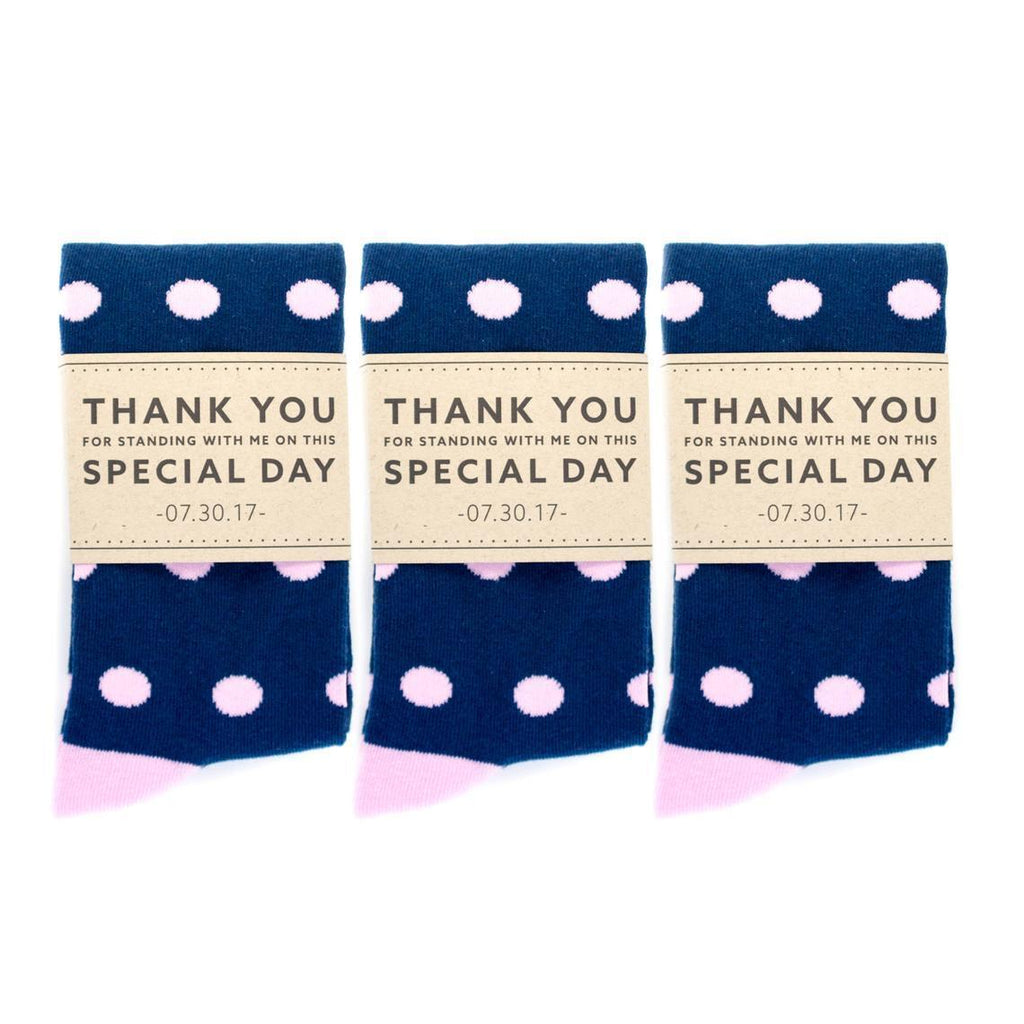 Personalized Thank You Socks Navy and Pink Polka Dots