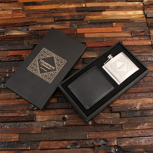 Personalized Wallet & Flask Groomsmen Gift Set