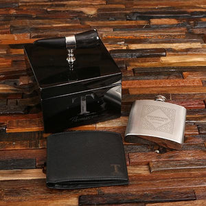 Personalized Wallet, Flask & Ox Horn Handle Box Gift