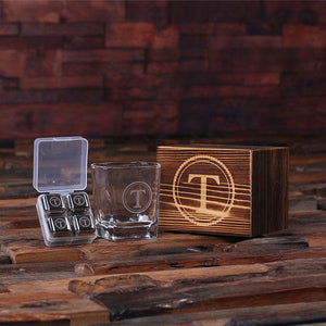 Personalized Whiskey Glass and Stainless Steel Ice Cubes Gift Set