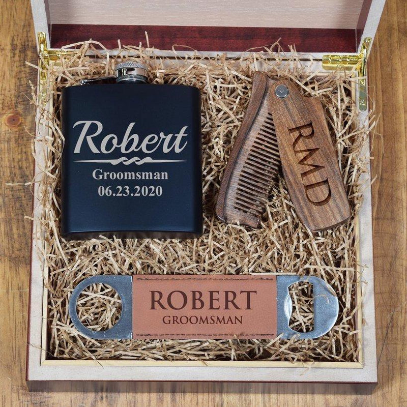 Wood Comb Groomsmen Gift Set Box + Flask + Comb