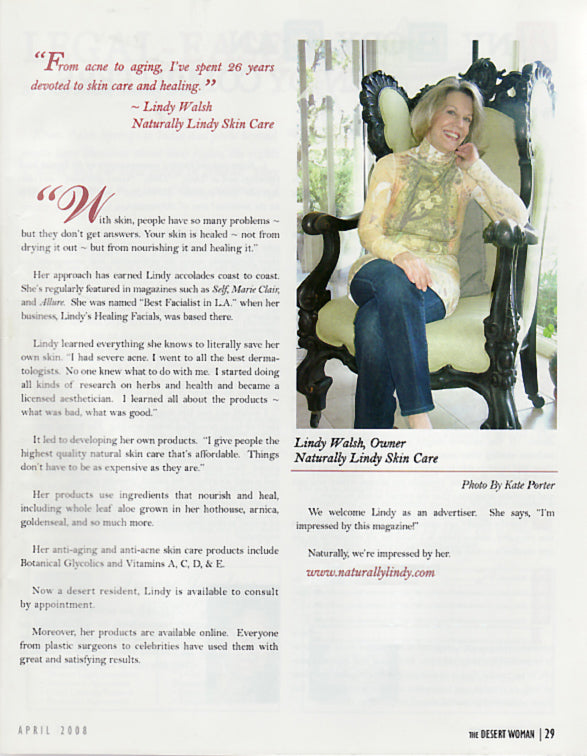 Desert Woman Magazine Intervies Lindy Batis-Walsh of Naturally Lindy Skin Care