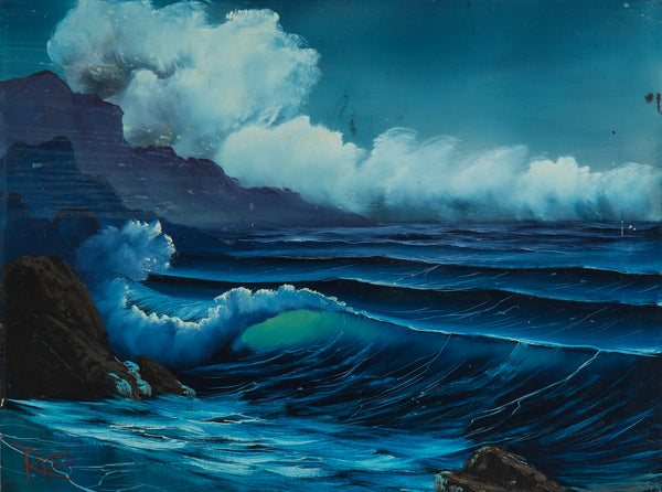 Bob Ross Signed Original Blue Ocean with Mountain Background Contemporary Art Painting