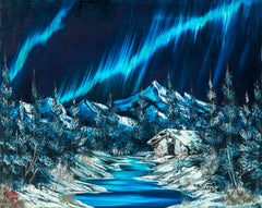 Bob Ross Original Signed Northern Lights, Painting Contemporary Art