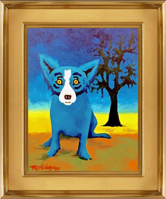 Blue Dog with Tree Original Oil Painting Signed Contemporary Art