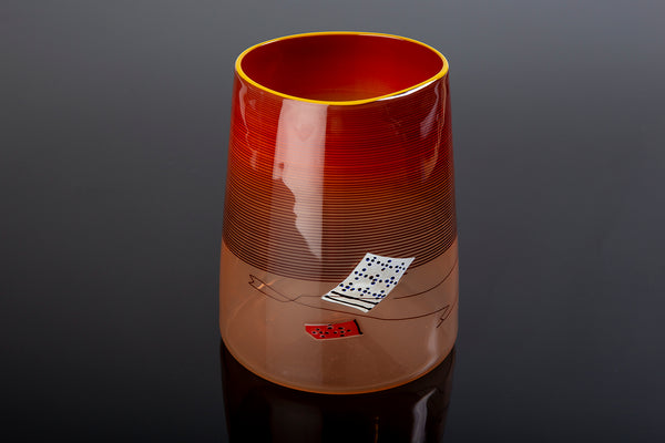 Red Blanket Cylinder 2000 Sold Out Edition Glass Sculpture Best Offer