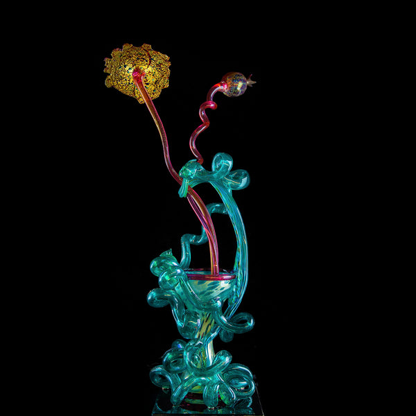 Large Pink & Teal Venetian Ikebana Vase Original Handblown Glass Signed Contemporary Art Sculpture