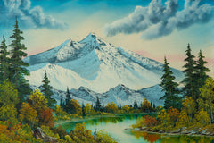 Authentic Original Mountain Summit Painting, Contemporary Art