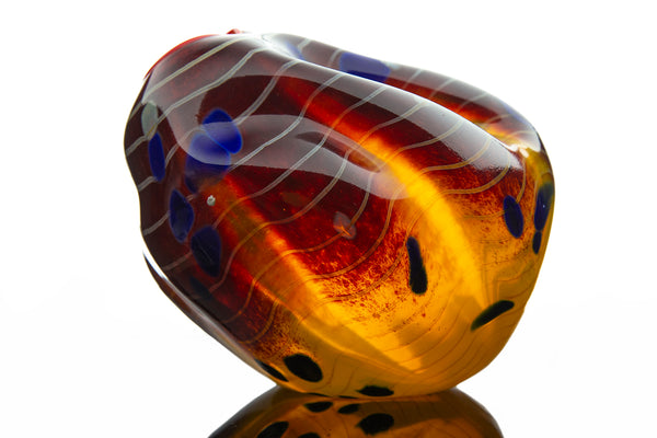 Cinnamon Macchia, 2001 Hand Blown Glass Art Signed