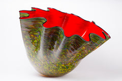 Dale Chihuly Original Massive Carmine Macchia with Navy Lip Wrap, 62K appraisal