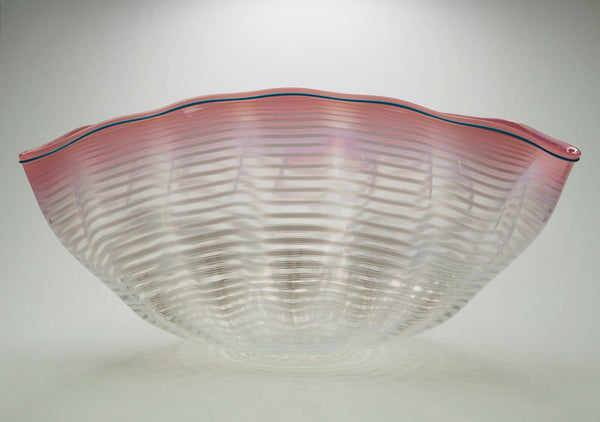 Dale Chihuly Original Large Soft Pink and and White Seaform with Plumbago Blue Lip Wrap Contemporary Glass Art