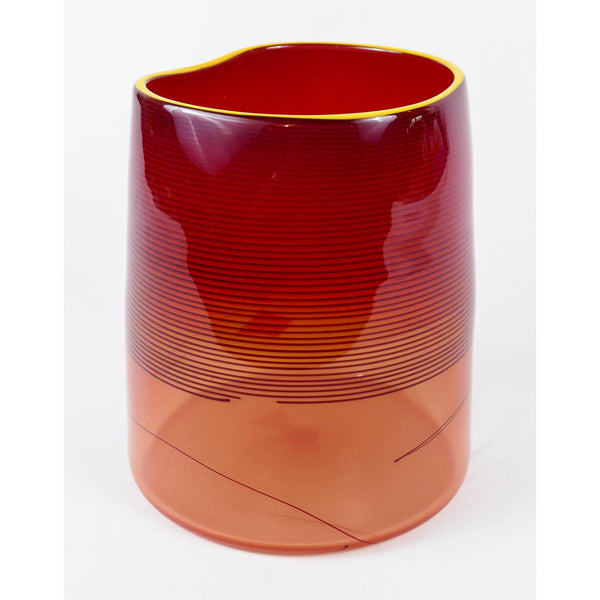 Dale Chihuly Original Red Blanket Cylinder Contemporary Glass Art