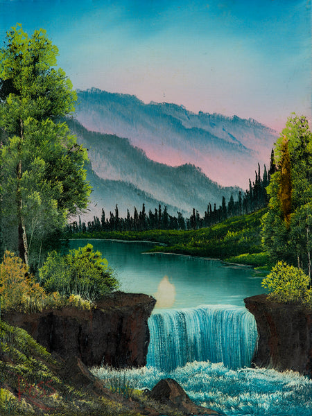Bob Ross Mountain Waterfall, Signed Original Painting Contemporary Art
