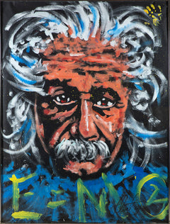 "Albert Einstein Oil on Paper Orig Painting, Massive 74.5 x 56.75"" Rare"
