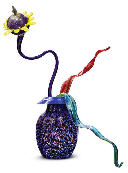 "Massive Illuminated Commissioned Ikebana Hand Blown Glass Sculpture 50"" four piece 100k+"