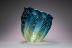Teal Blue Seaform Persian Basket Original Glass Sculpture