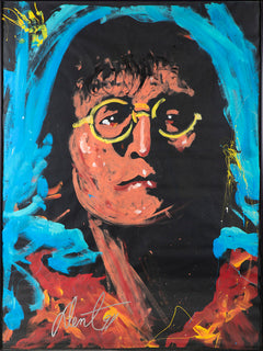 "John Lennon Oil on Paper Original Painting Massive 75 3/4"" x 58 1/4"" frames Rare"