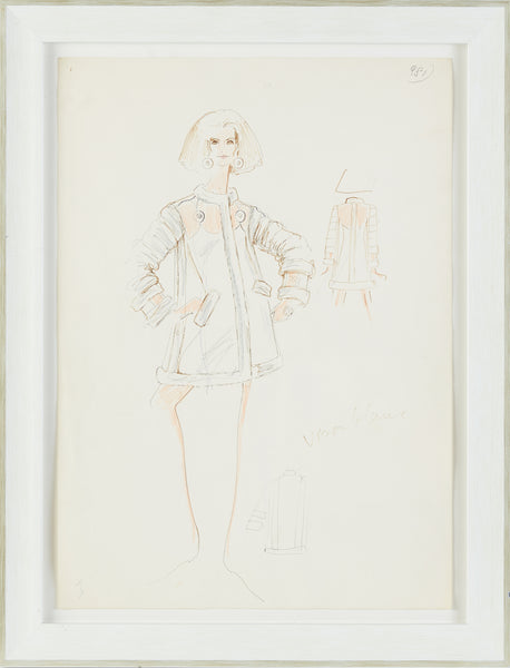 "Karl Lagerfeld original 20"" x 14"" white coat colored pencil fashion sketch contemporary art drawing, 10k Appraisal"