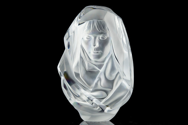 Penumbra $12k retail, W/Stand hand Signed Lucite Female Sculpture Modern Art