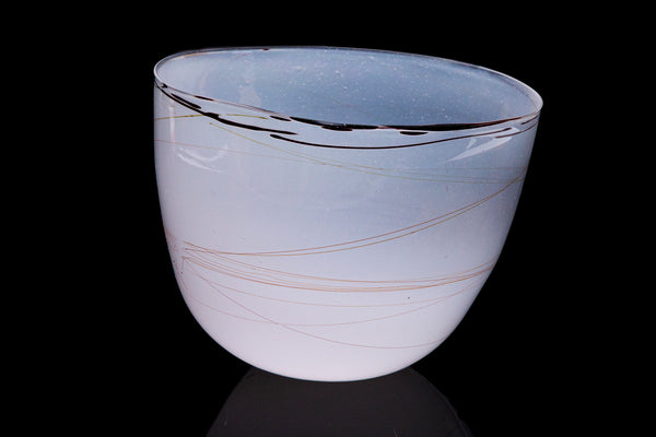 Dale Chihuly 1979 White Bowl w/Thin Beige Threads Signed Contemporary Handblown Glass Art