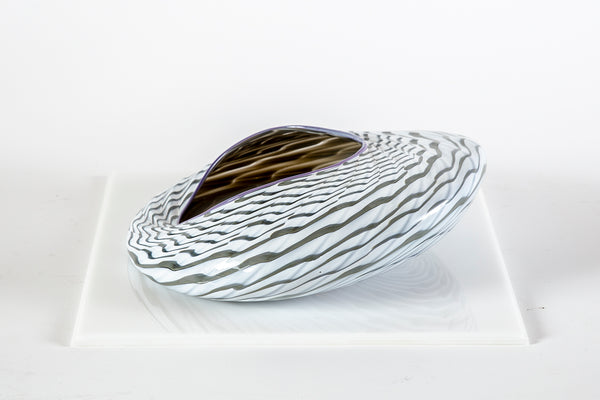 Dale Chihuly Black and White Seaform with Purple Lip Wrap