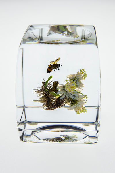 H 46 Botanical Honey Bee w/human form handmade glass