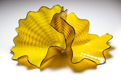 Radiant Yellow Persian Pair with Black Lip Wraps, circa 1995 — Dale Chihuly