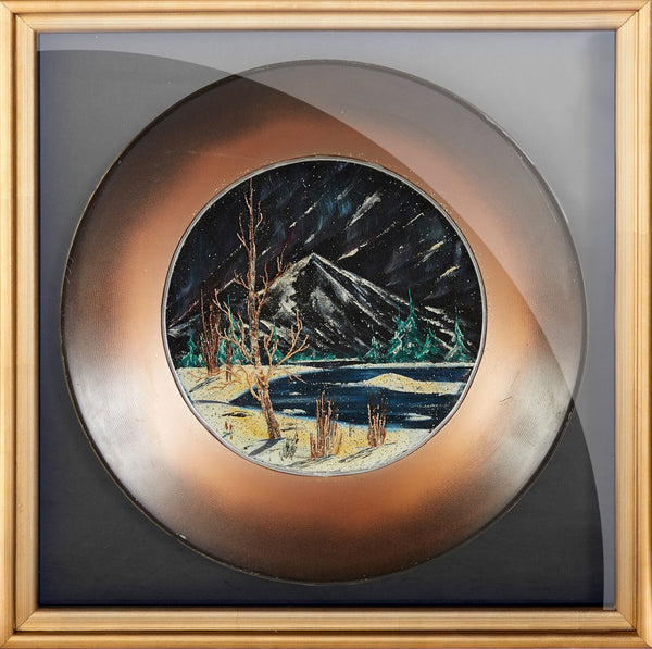 Bob Ross Original Oil on Velvet inside Gold Pan Painting Contemporary Art