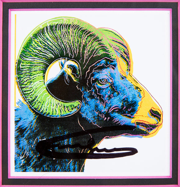 Andy Warhol Big Horn Ram Hand Signed Endangered Specie Gallery Announcement Invitation