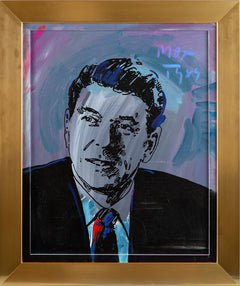 Original Acrylic on Silkscreen on Canvas Painting Ronald Reagan — Contemporary Art Political History