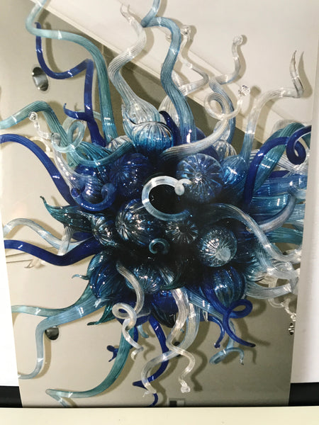 Dale Chihuly Original Handblown Blue Mosaic Glass Chandelier