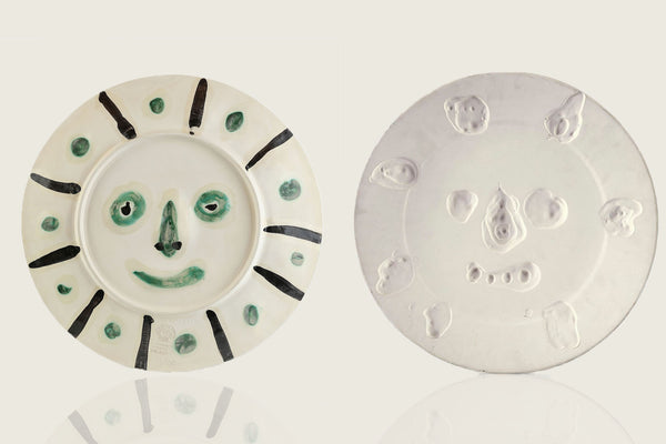 "Original Pablo Picasso Dual Sided Ceramic AR 349, 350 ""Face with Spots"" ""Mat Face"""